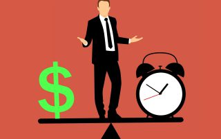illustration of a man standing on a scale with a dollar sign and a clock