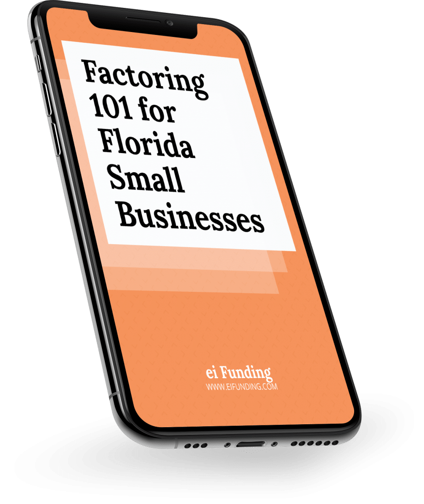 Phone mockup of e-book Factoring 101 for Florida Small Businesses