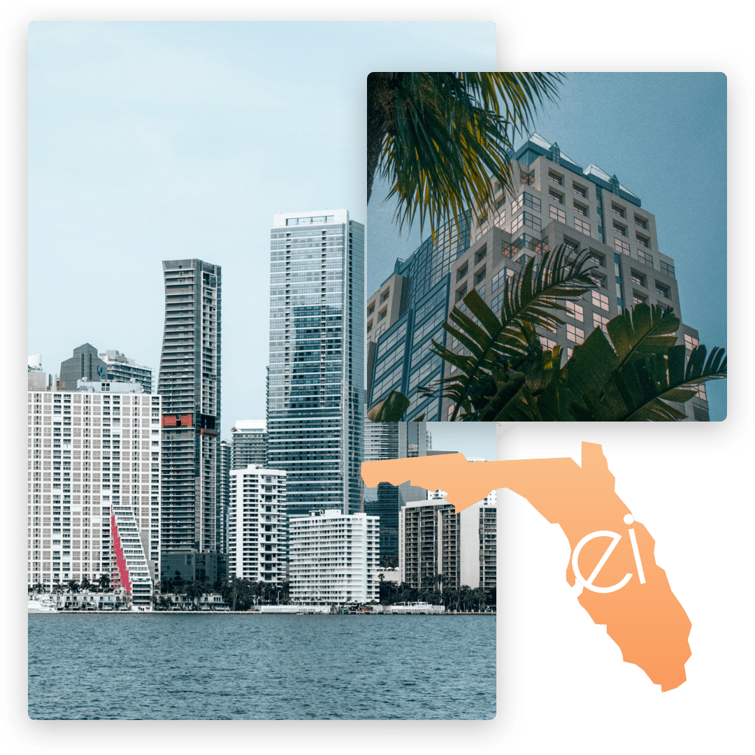 Collage of Miami and Orlando with ei Funding logo