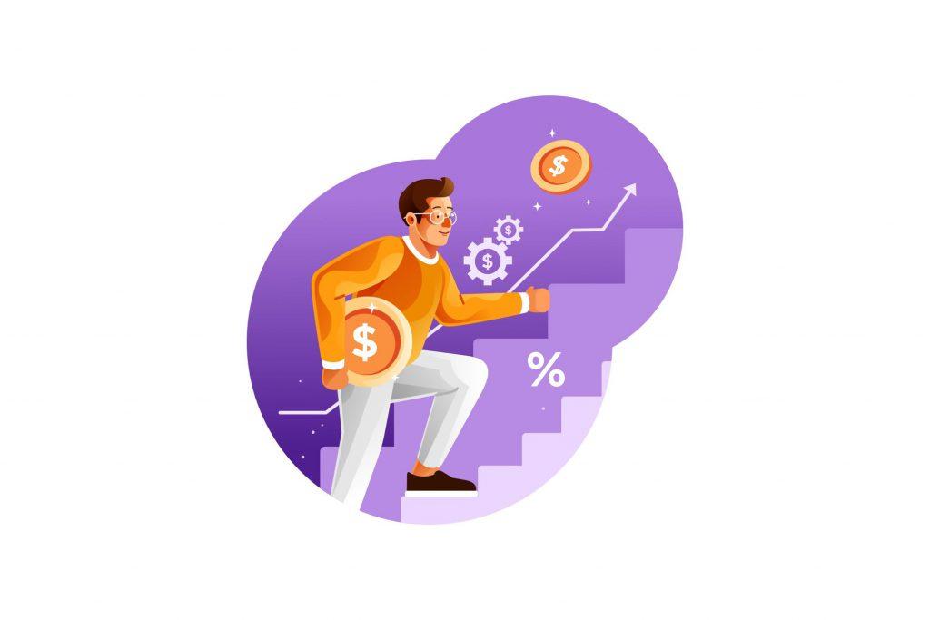 man climbing up stairs toward financial success