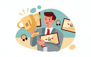 man holding trophy and certificates of business success