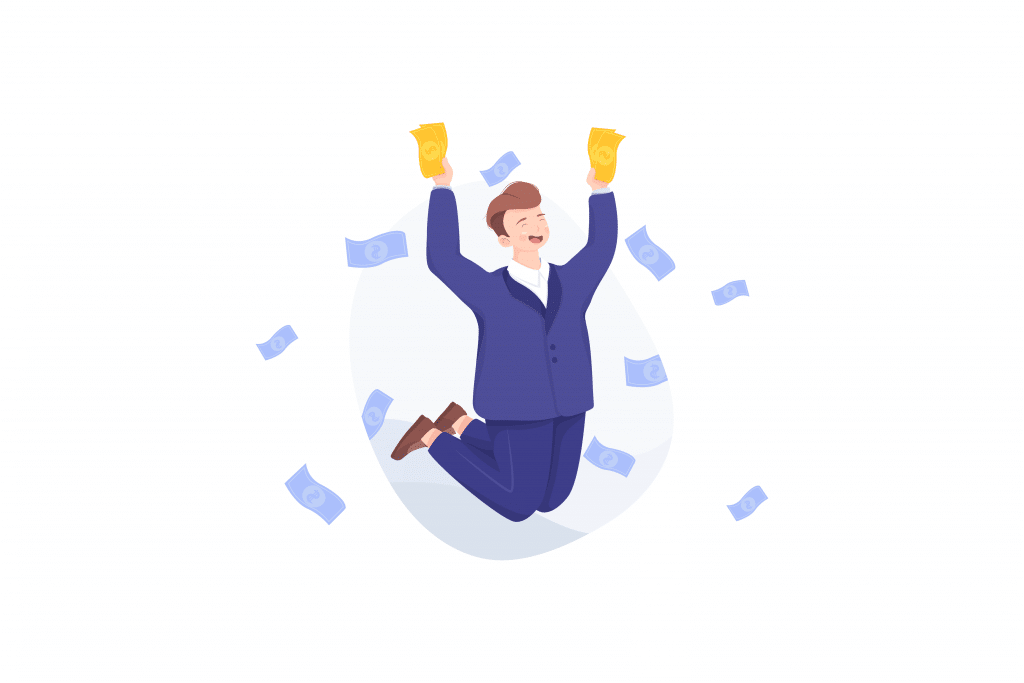 Graphic of businessman jumping up with money