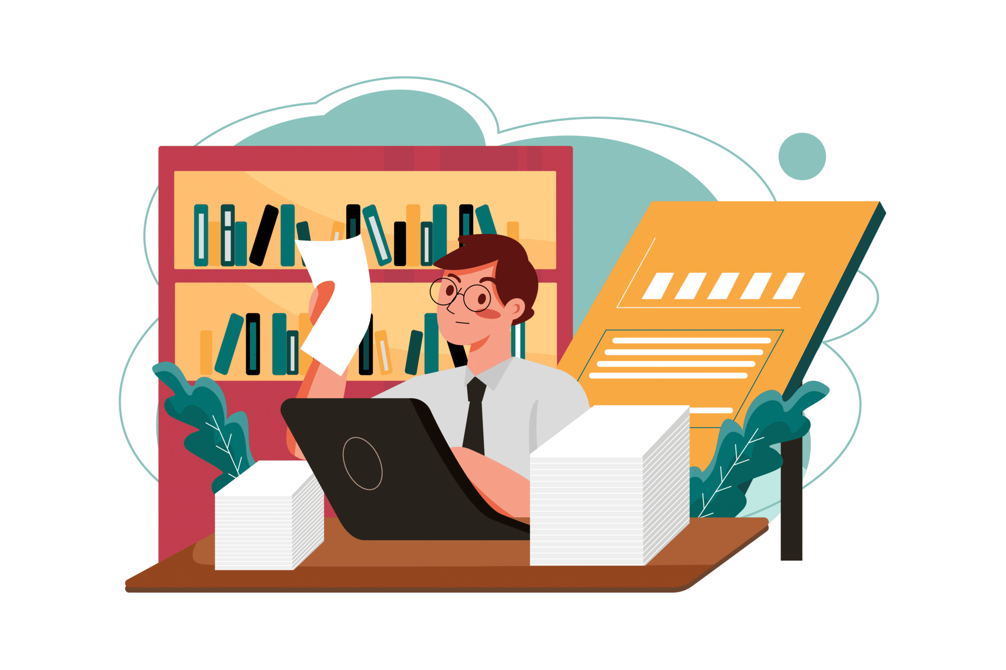 Graphic of man working at desk reading a document