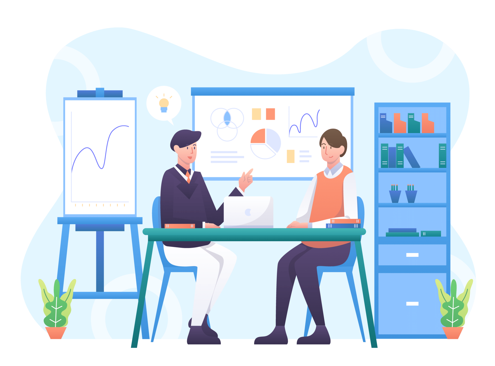 Graphic of two business professionals sitting at a desk