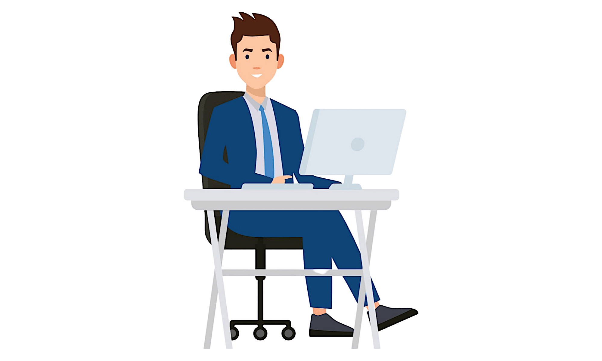 Graphic of man at desk with computer
