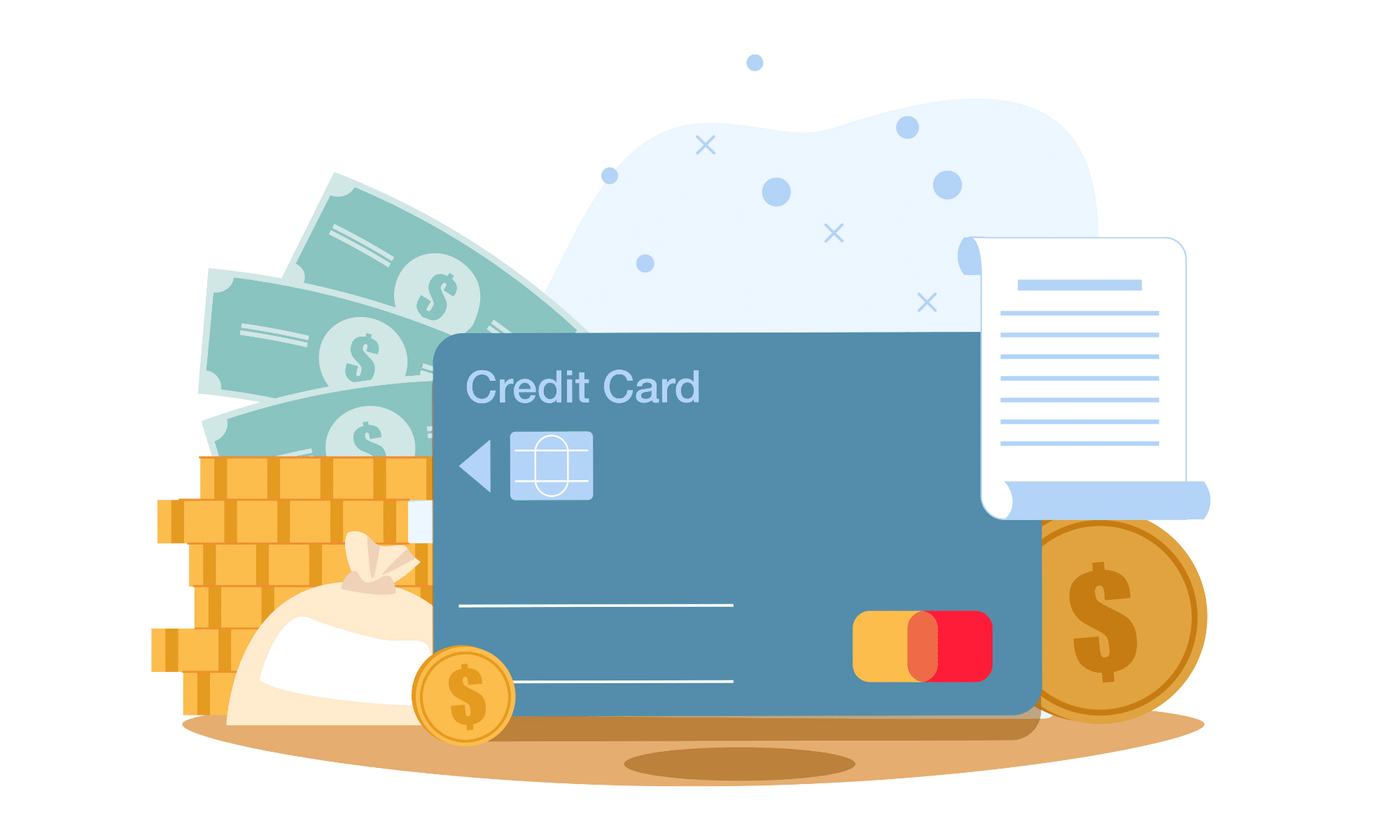 Graphic of credit card and cash