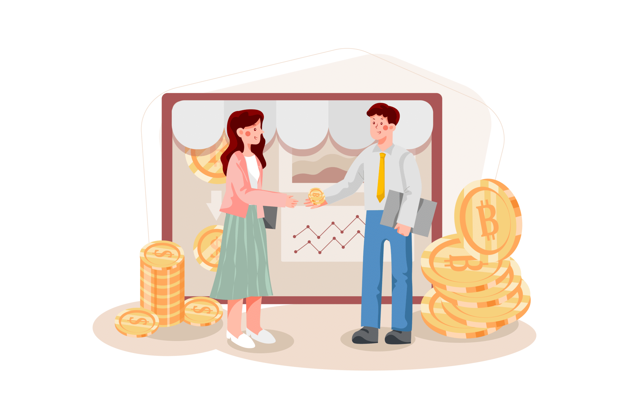 Graphic of woman shaking man's hand with money around them