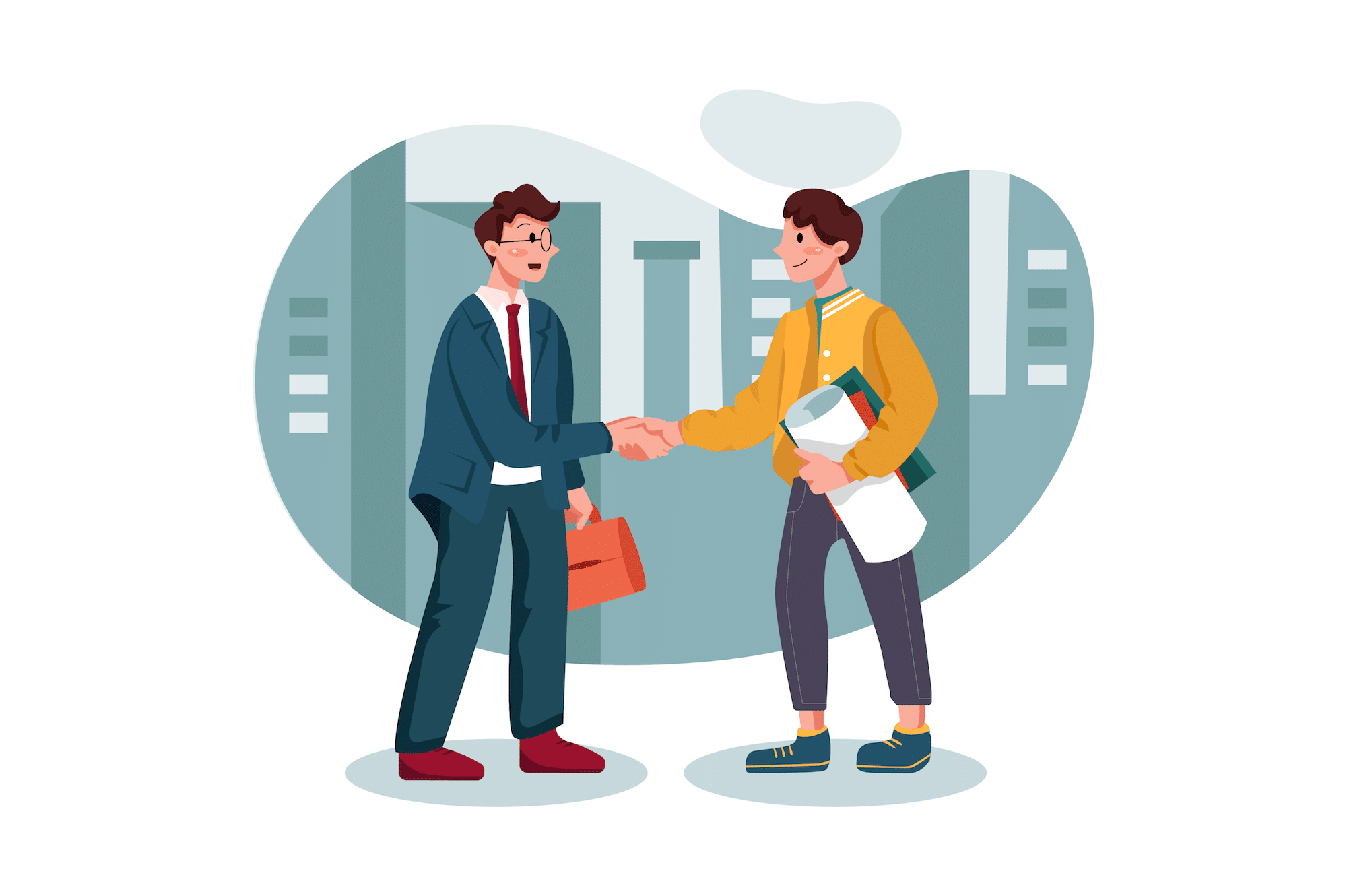 Graphic of businessmen shaking hands