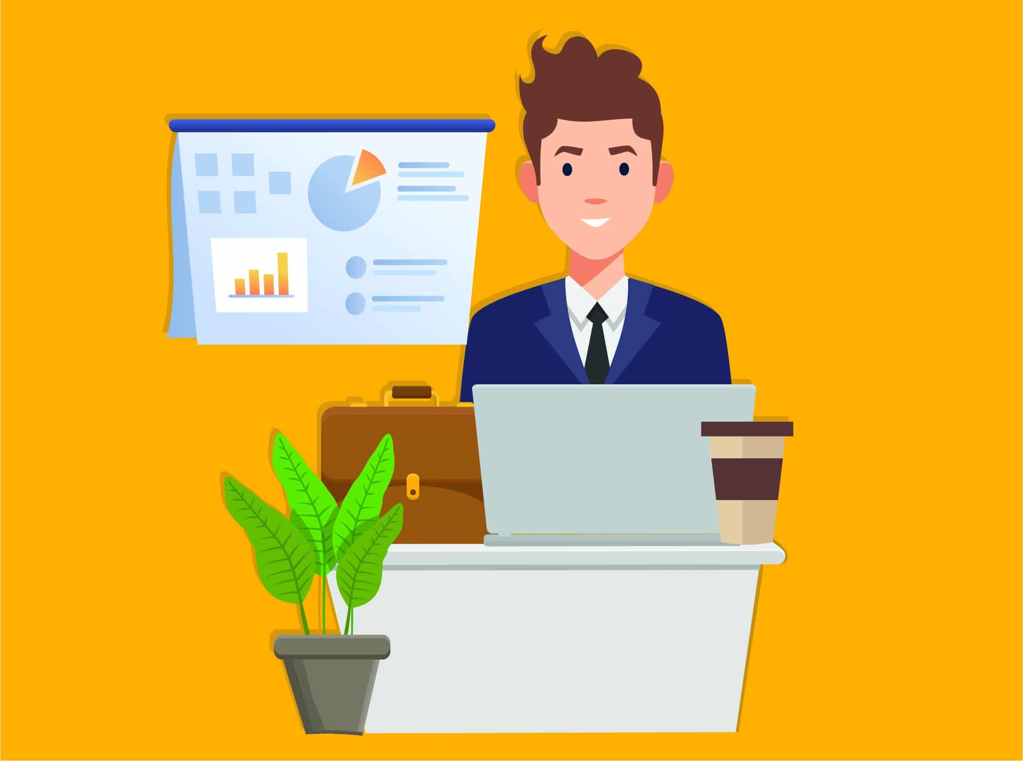Graphic with businessman working at a desk