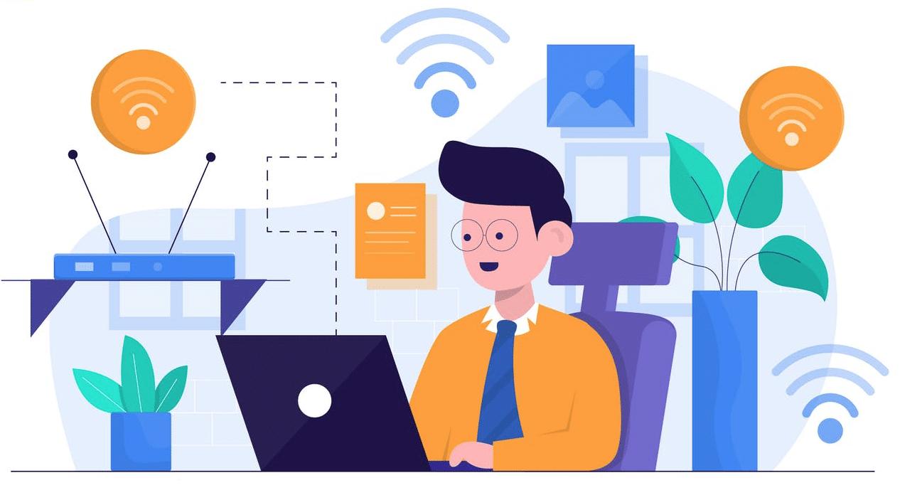 Graphic of man on laptop with Wi-Fi symbols around him
