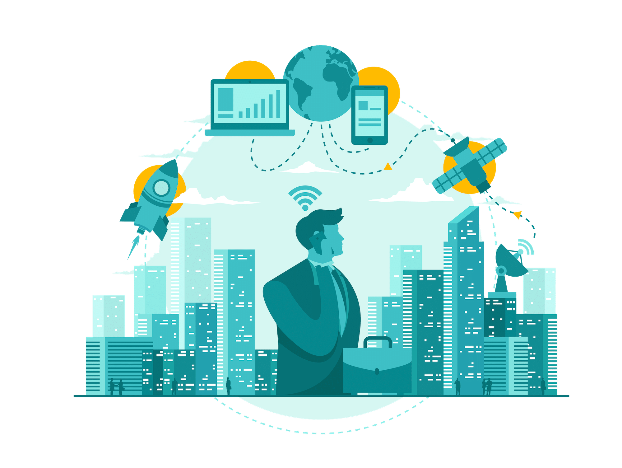 Graphic of man standing in a city with electronics around him