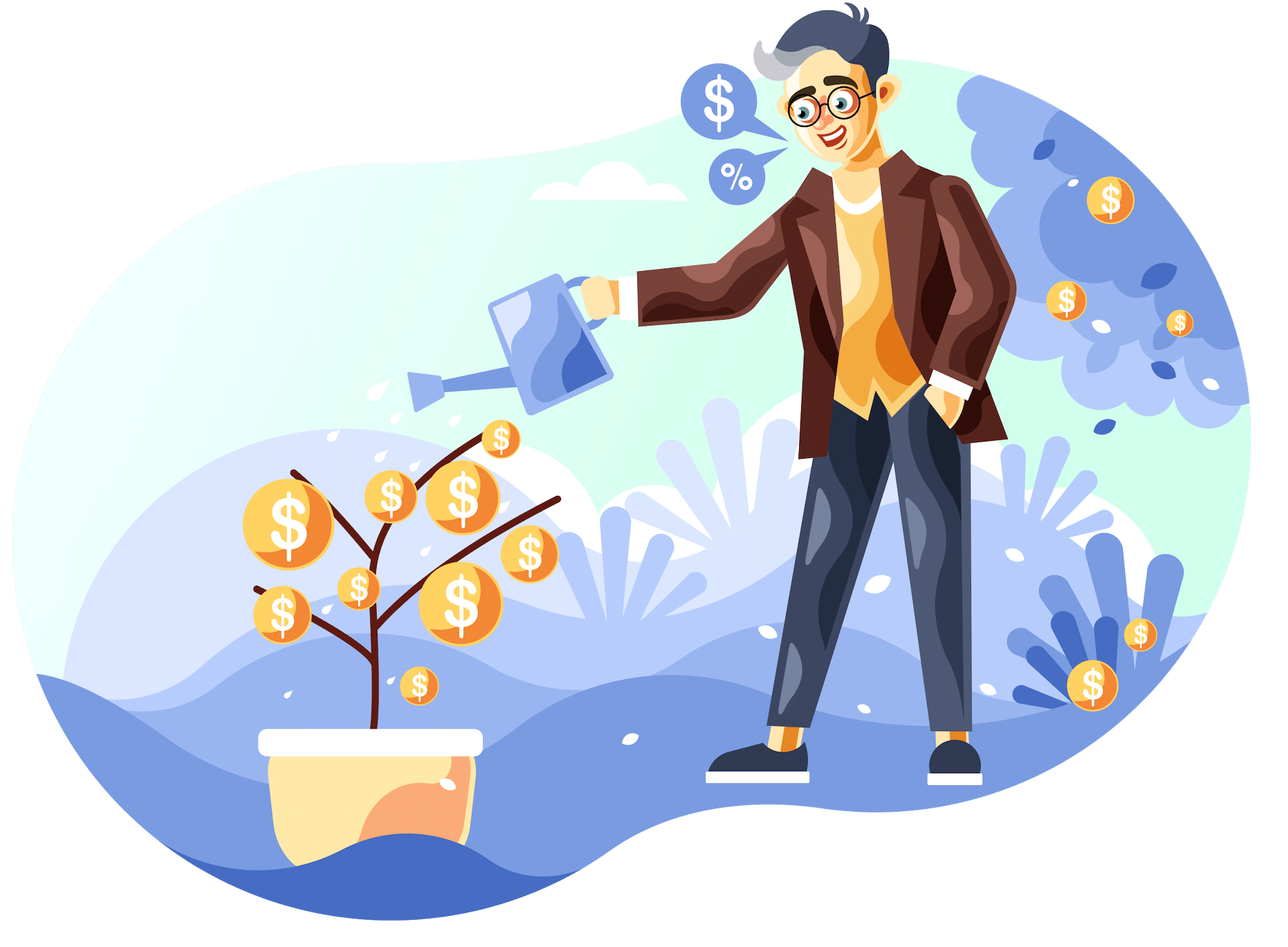 Graphic of a man watering a money tree
